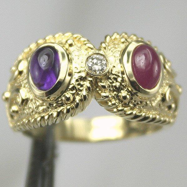 5002: 14KT Amethyst Ruby Diamond Ring .05CT