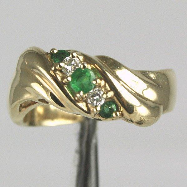 5034: 14KT Emerald Diamond Ring Sz 6