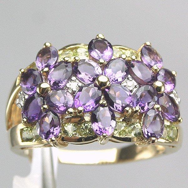 1025: 14KT Amethyst Peridot Diamond Ring 0.03CT
