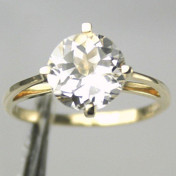 1777: 10KT Round White Topaz Ring
