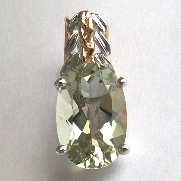 4011: 18KT. Green Amethyst Pendant 12x8 MM