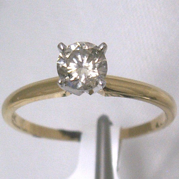 4147: 14KT Champagne Diamond Solitaire Ring 0.50 CTS Sz
