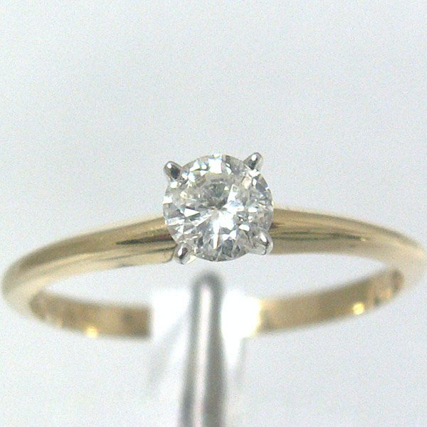 4390: 14KT Diamond Solitaire Ring 0.29 CTS Sz 6