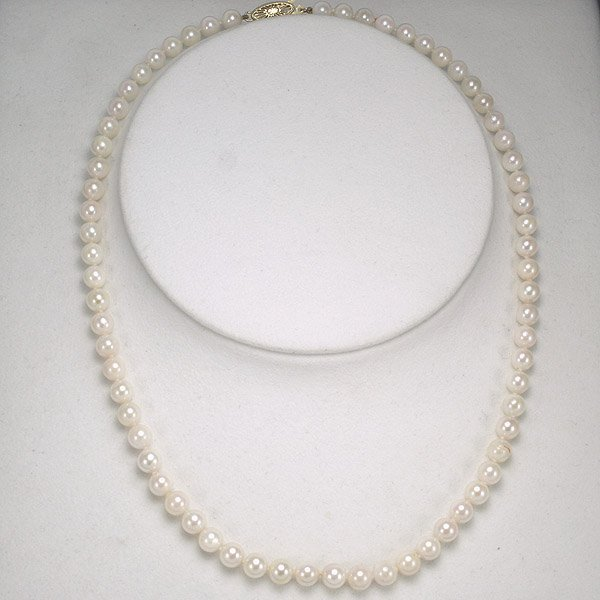 3016: 14KT 5.5-6MM Akoya Pearl Necklace 23in