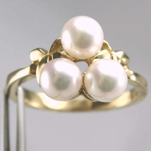 3447: 14KT Cultured Pearl Ring