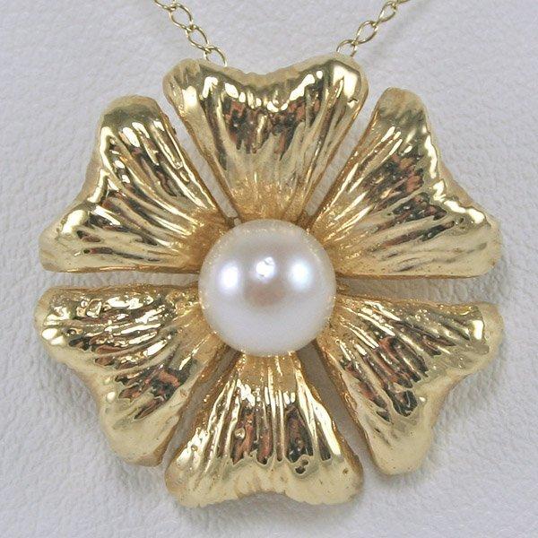 3515: 14KT Pearl Flower Pendant