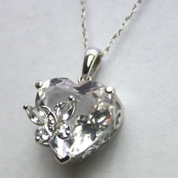 4007: 10KT Pink Topaz Heart with White Topaz Butterfly