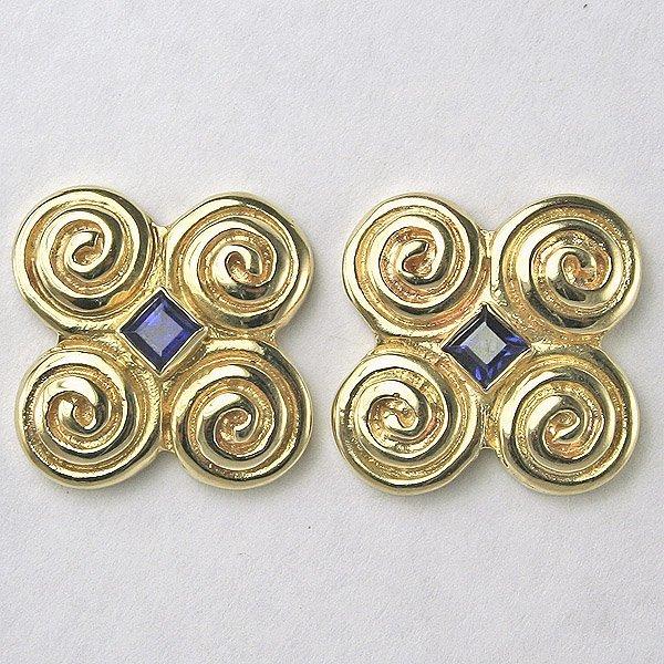 4030: 14KT Sapphire Swirl Earrings, 18MM Width