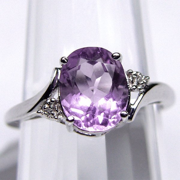 1004: 10KT Amethyst & Diam Ring 10X8mm 2.03TCW Sz 6 3/4