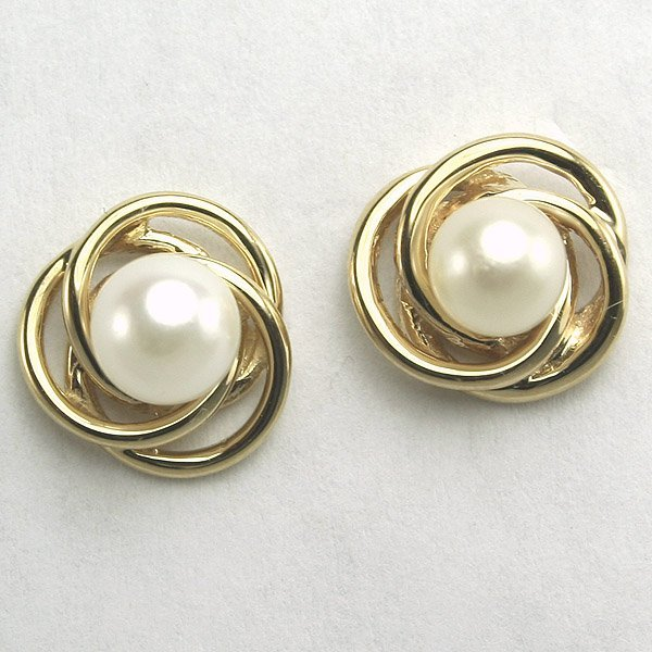 1015: 14KT 2.79gm Pearl Stud Earrings 12mm Width