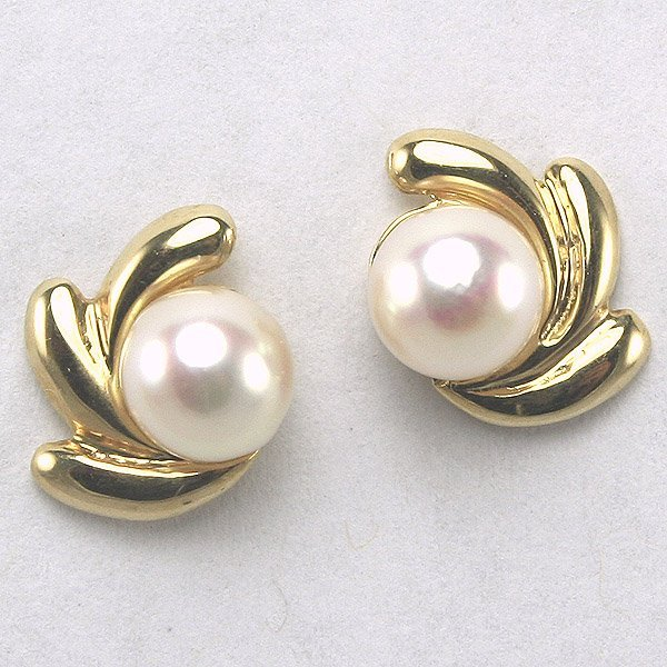 1027: 14KT Pearl Earrings, 11mm Diameter