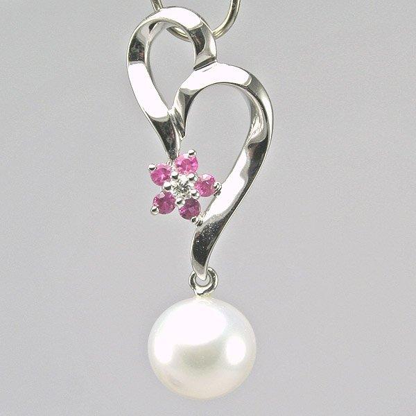 1016: 14KT Diamond Pink Sapphire White Gold Flower Pend