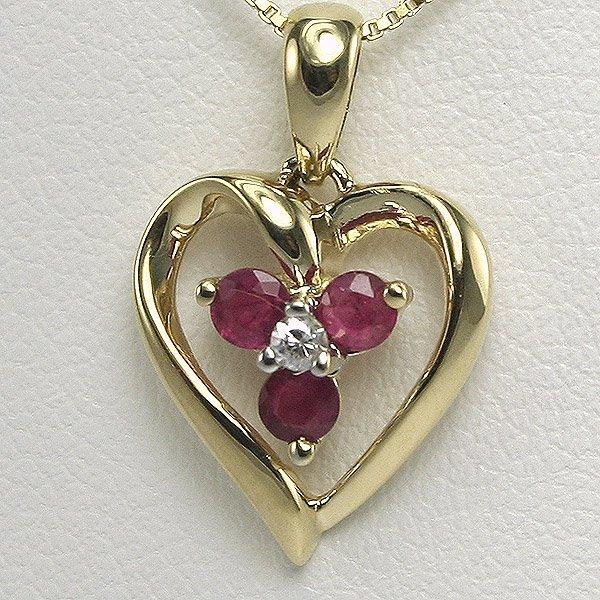 1019: 10KT 0.01CT Diamond 0.15CT Ruby Heart Pendant