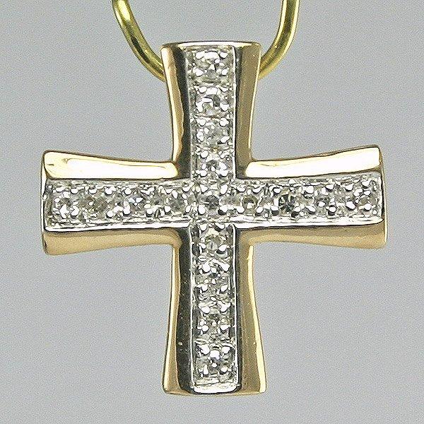 1020: Diamond Cross Pendant, 0.08CT, 14MM Width