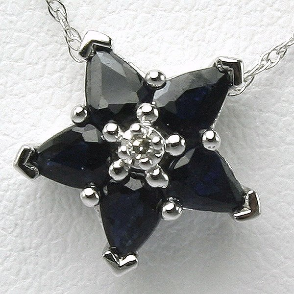 3002: 10KT Sapphire Diamond Star Pendant 0.905 TCW 10.3
