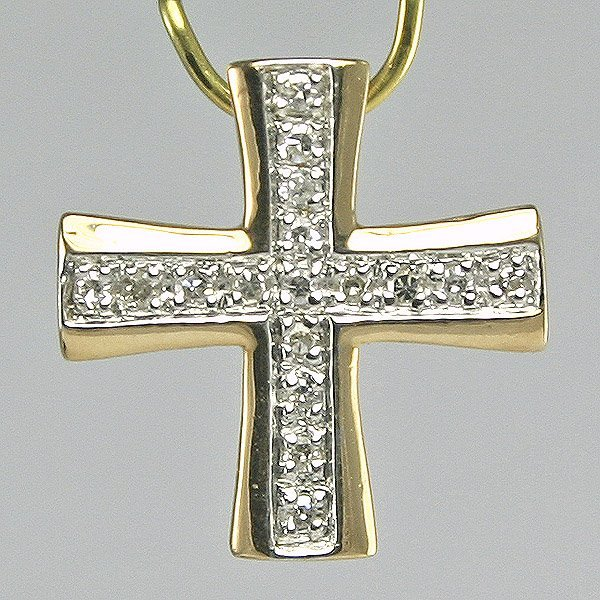 3020: Diamond Cross Pendant, 0.08CT, 14MM Width