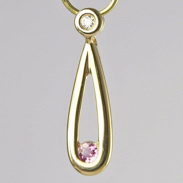 3029: 14KT Diamond Pink Tourmaline Safety Pin Pendant,