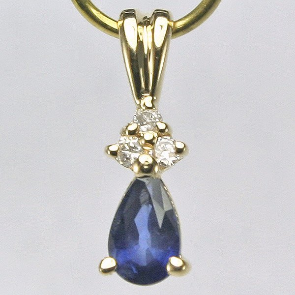 3003: 14KT Diamond Sapphire Teardrop Pendant 0.28tcw