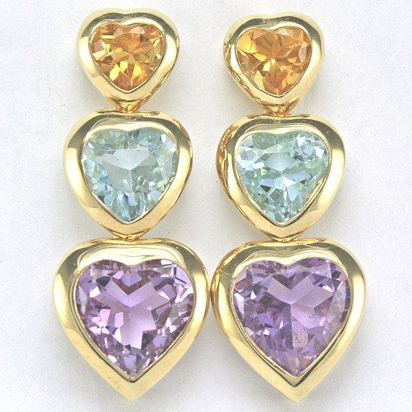 3302: 14KT 8.46tcw Multi-Stone Dangle Heart Earrings