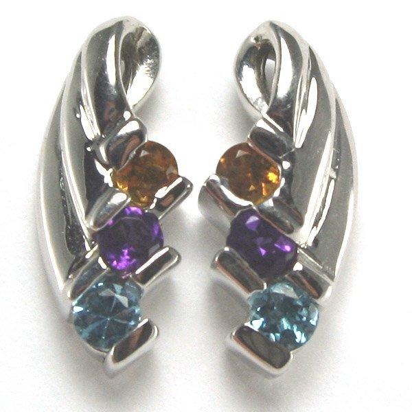 4219: 14KT Multi Semi Precious Earrings
