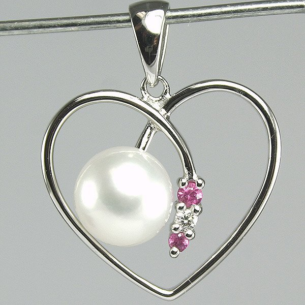 5009: 14KT Sapphire Diam Pearl Heart Pendant 20mm