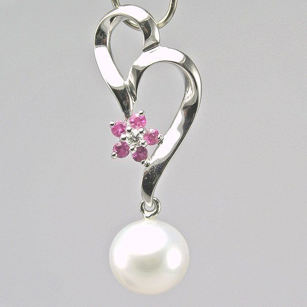 5016: 14KT Diamond Pink Sapphire White Gold Flower Pend