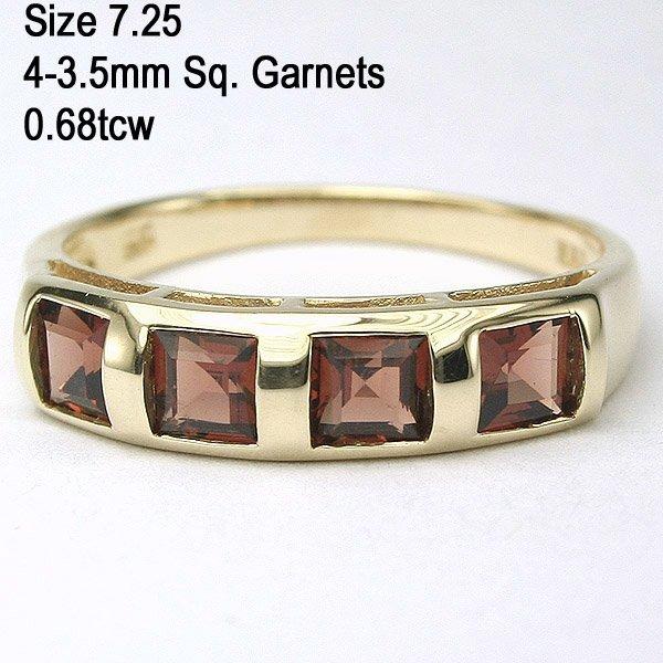 5318: 14KT Four Square 0.68tcw Garnet Ring Sz 7.25