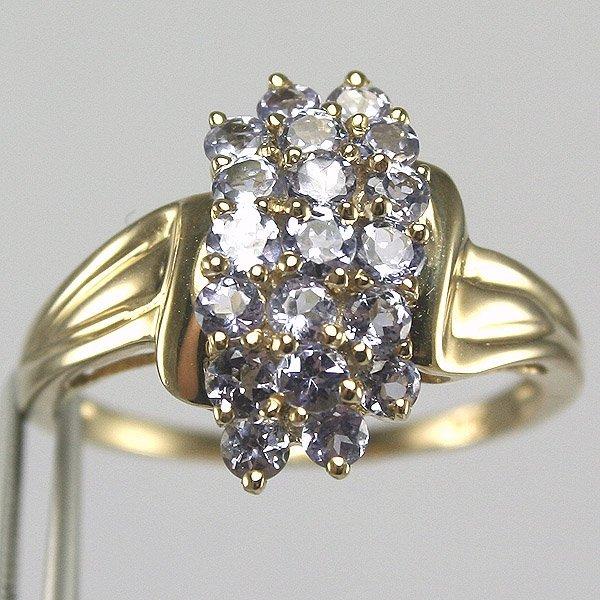 1025: 10KT 0.76TCW Tanzanite Cluster Ring Size 8 1/4