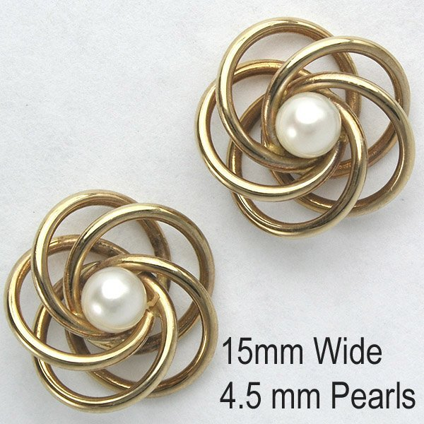 1400: 14KT 4.5mm Pearl Knot Earrings 15mm