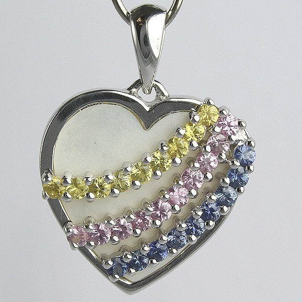 1410: 10KT Multi-Color Sapphire Heart Pendant 22mm