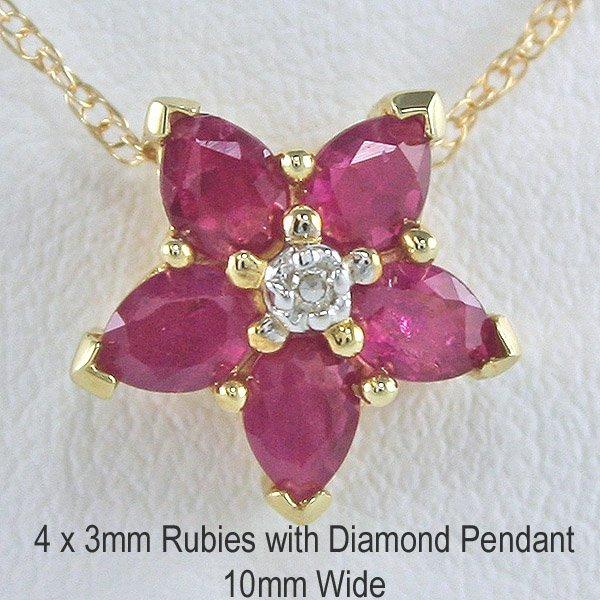 1011: 10KT 0.1ct Diam & Ruby Star Flower Pendant 10mm