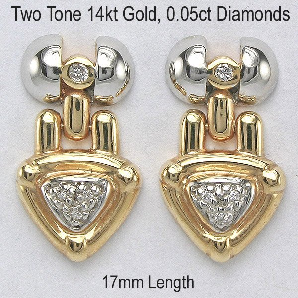 3382: 14KT 0.05tcw Diamond Arrow Earrings 17mm