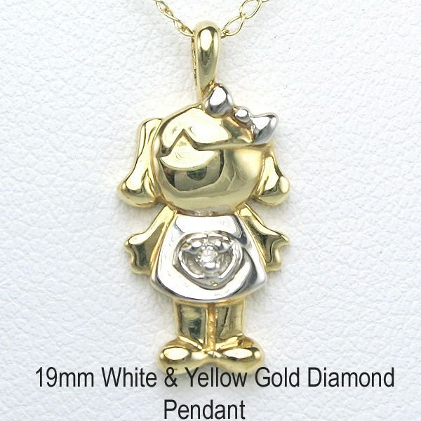 "3019: 10KT Adorable Diamond ""Girl"" Pendant 19mm"