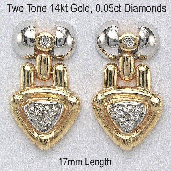 4382: 14KT 0.05tcw Diamond Arrow Earrings 17mm