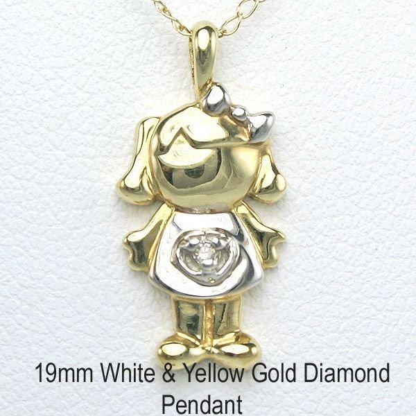 "4019: 10KT Adorable Diamond ""Girl"" Pendant 19mm"