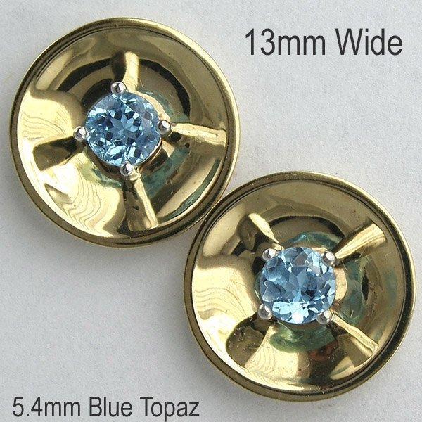 5438: 14KT 0.74tcw Blue Topaz Earrings 13mm