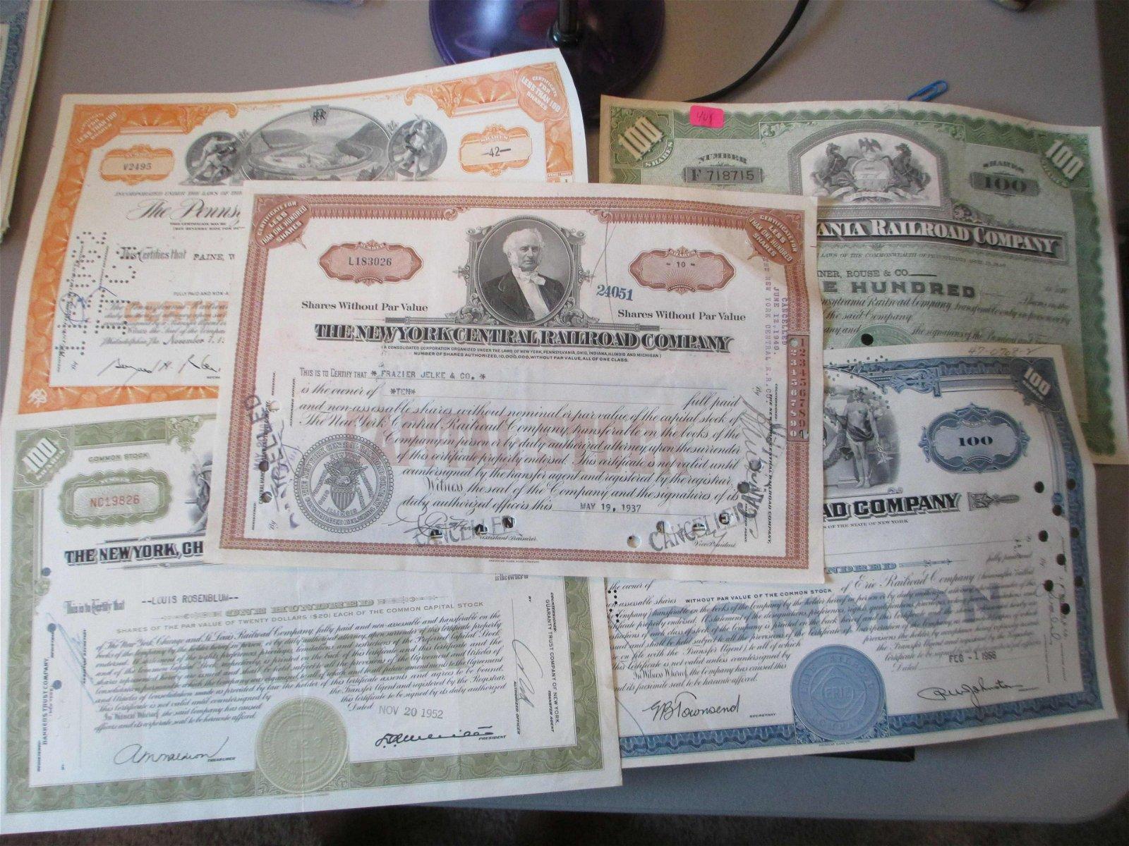 lot of 5 railroad stock certificates