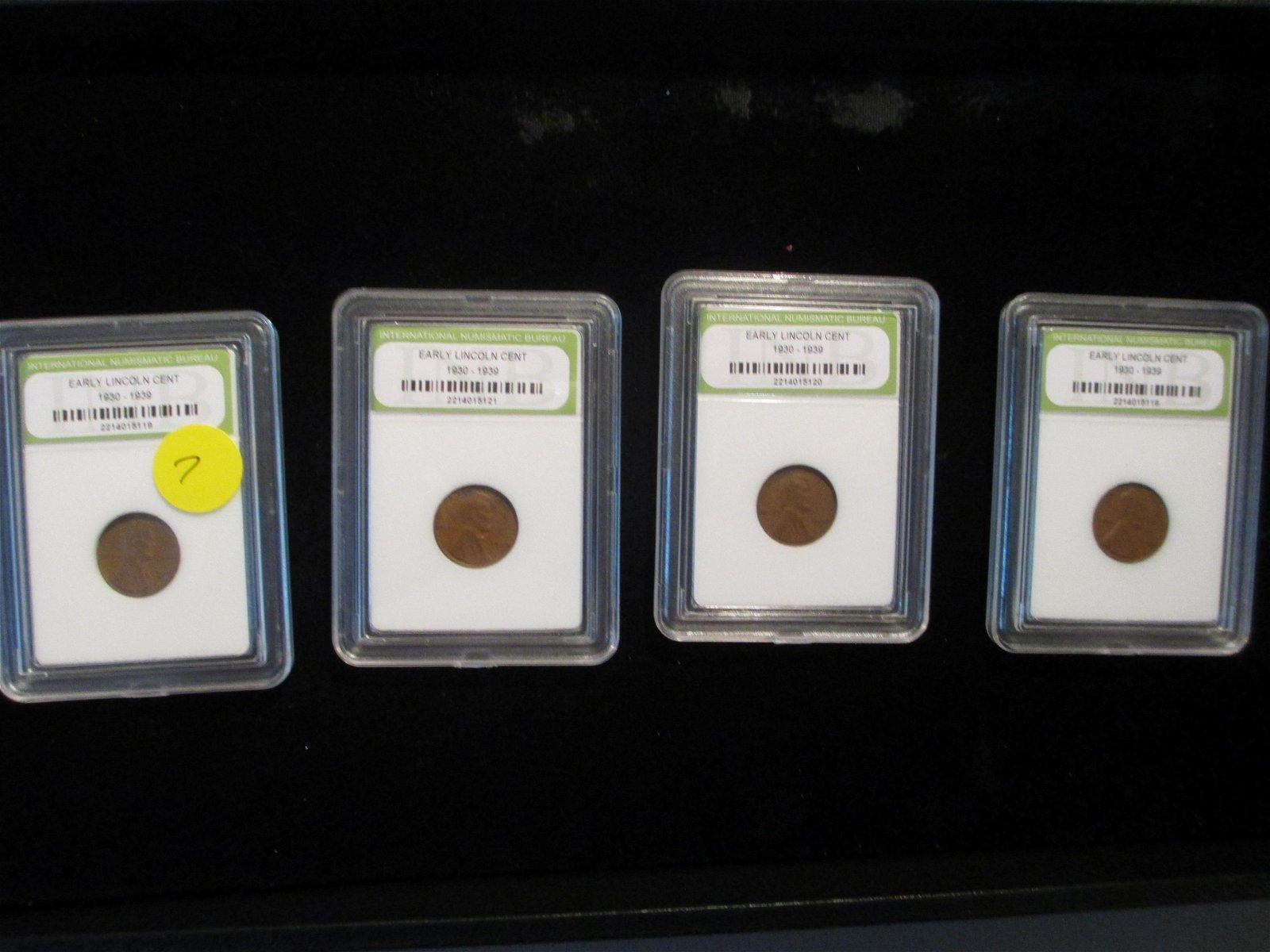 lot of 4 international numismatic bureau graded lincoln