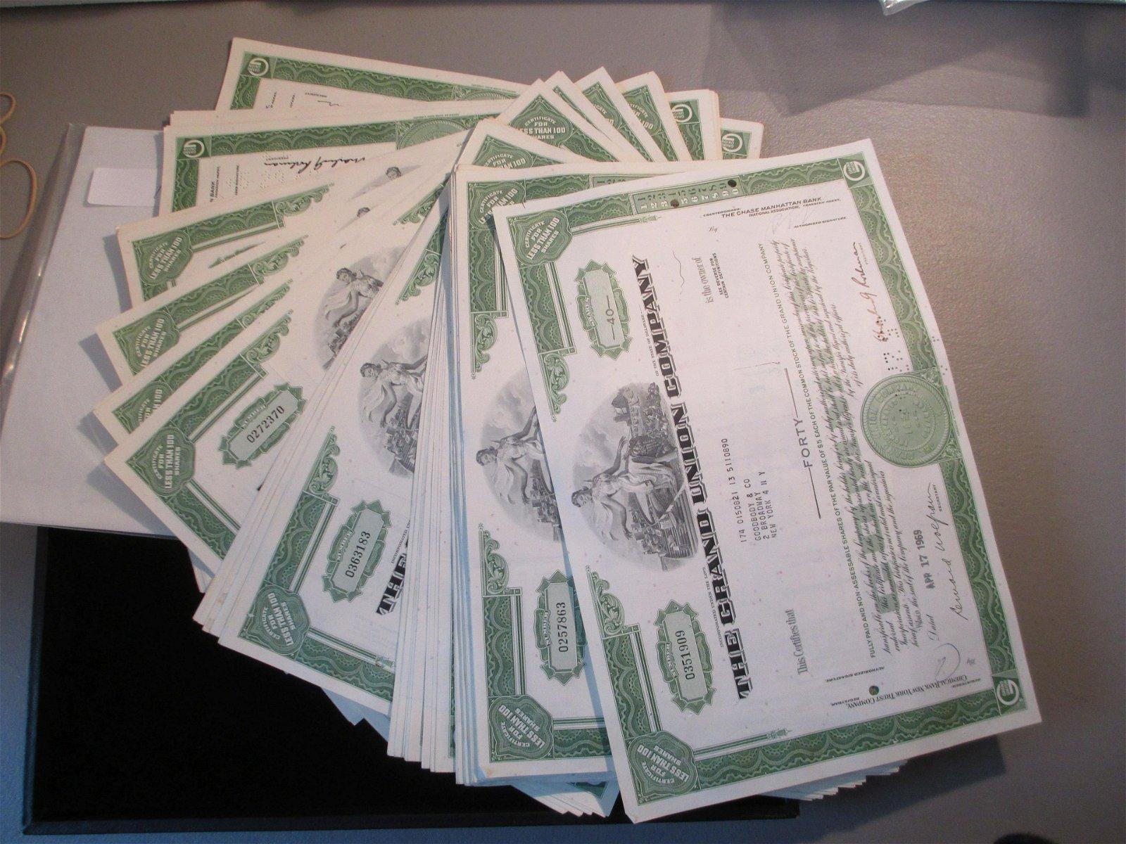 lot of 100 the grand union company stock certificates