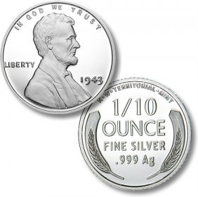 One 1/10 Ounce1943 Silver War Penny