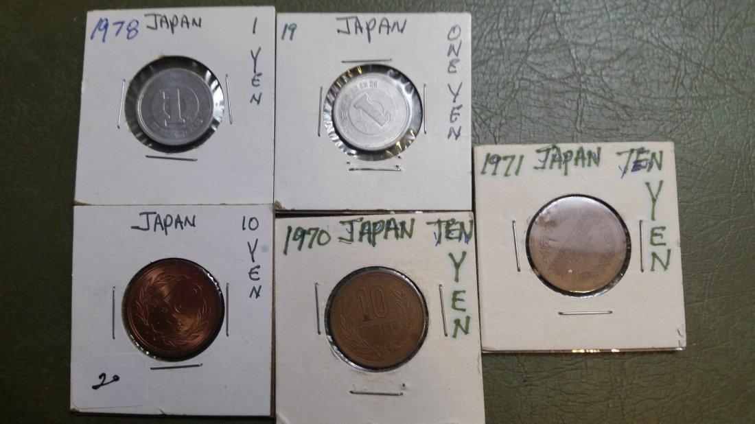 LOT OF 5 JAPAN YEN COINS