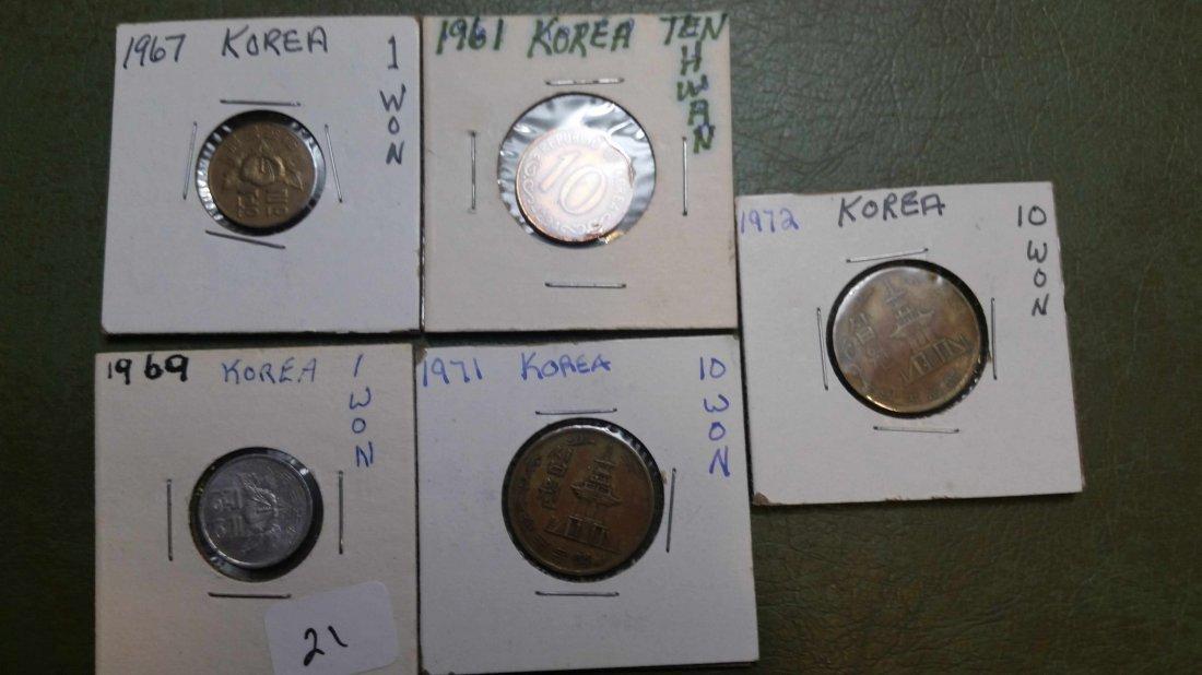 LOT OF 5 KOREAN WORLD COINS
