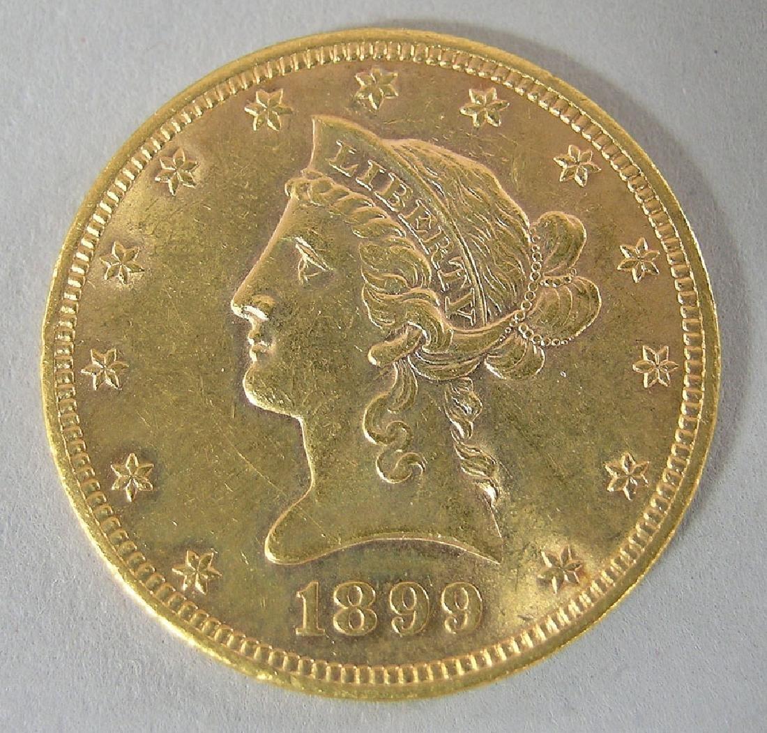 1899 Ten Dollar Liberty Head Eagle U.S. Gold Coin