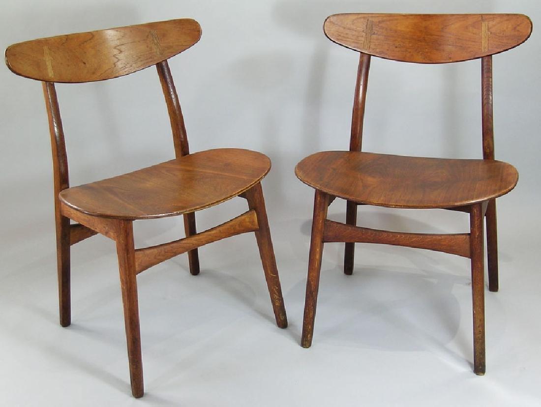 Pair of Hans Wegner Danish Modern Dining Chairs,  made