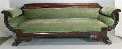 American Empire Carved Sofa, mahogany, cornucopia