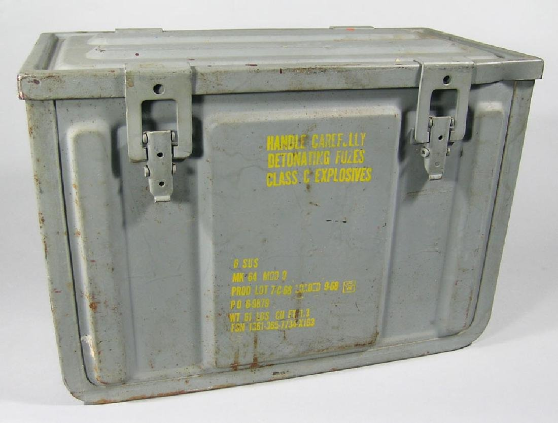 Large Grey Military Explosives Can