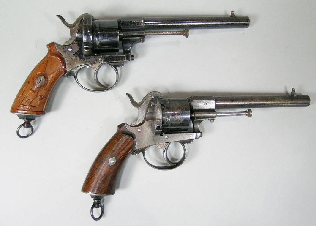 Two Belgian Pin Fire Revolvers