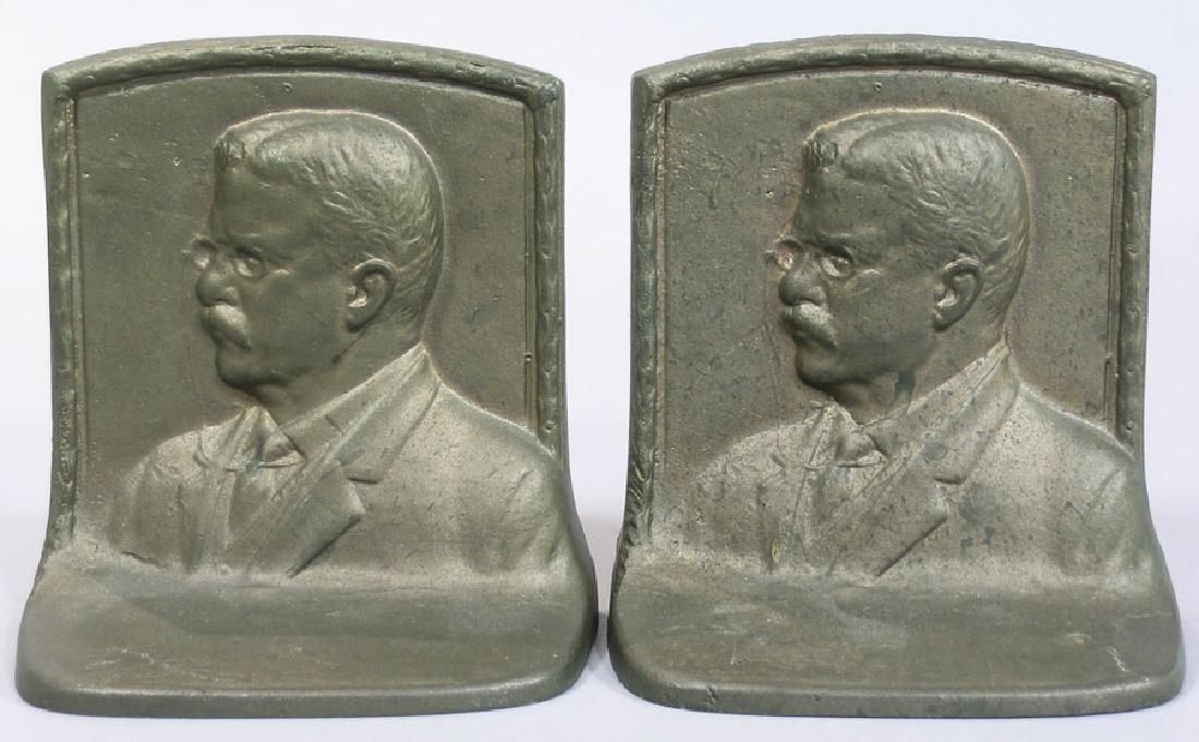 Pair of Teddy Roosevelt Patinated Bronze Bookends