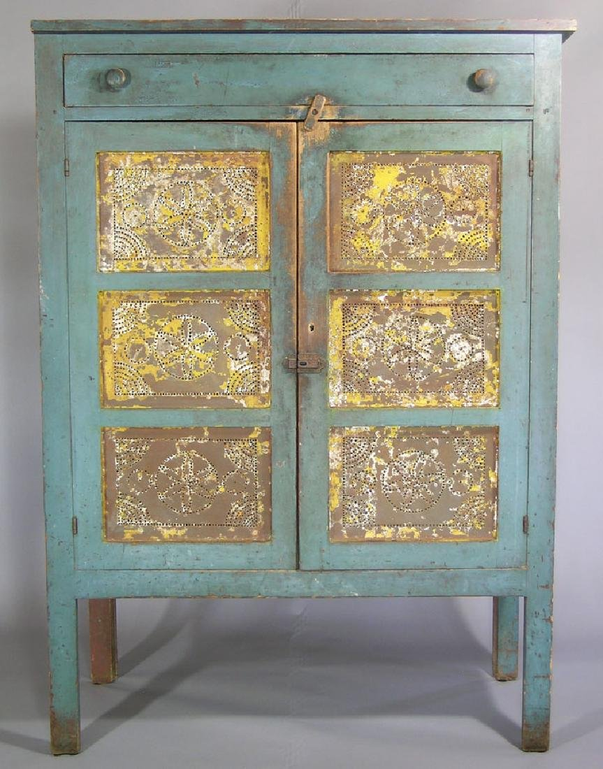 19th C. Pine Punched Tin Pie Safe