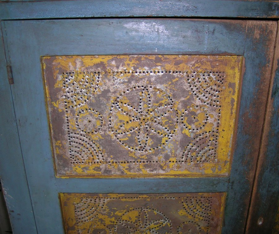 19th C. Pine Punched Tin Pie Safe - 3
